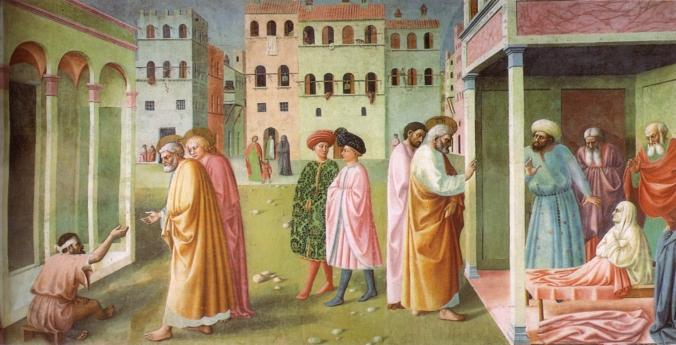 Cappella_brancacci,_Guarigione_dello_storpio_e_resurrezione_di_Tabita_(restaurato),_Masolino